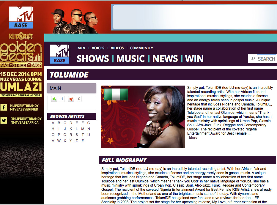 TolumiDE Profile on MTV Base