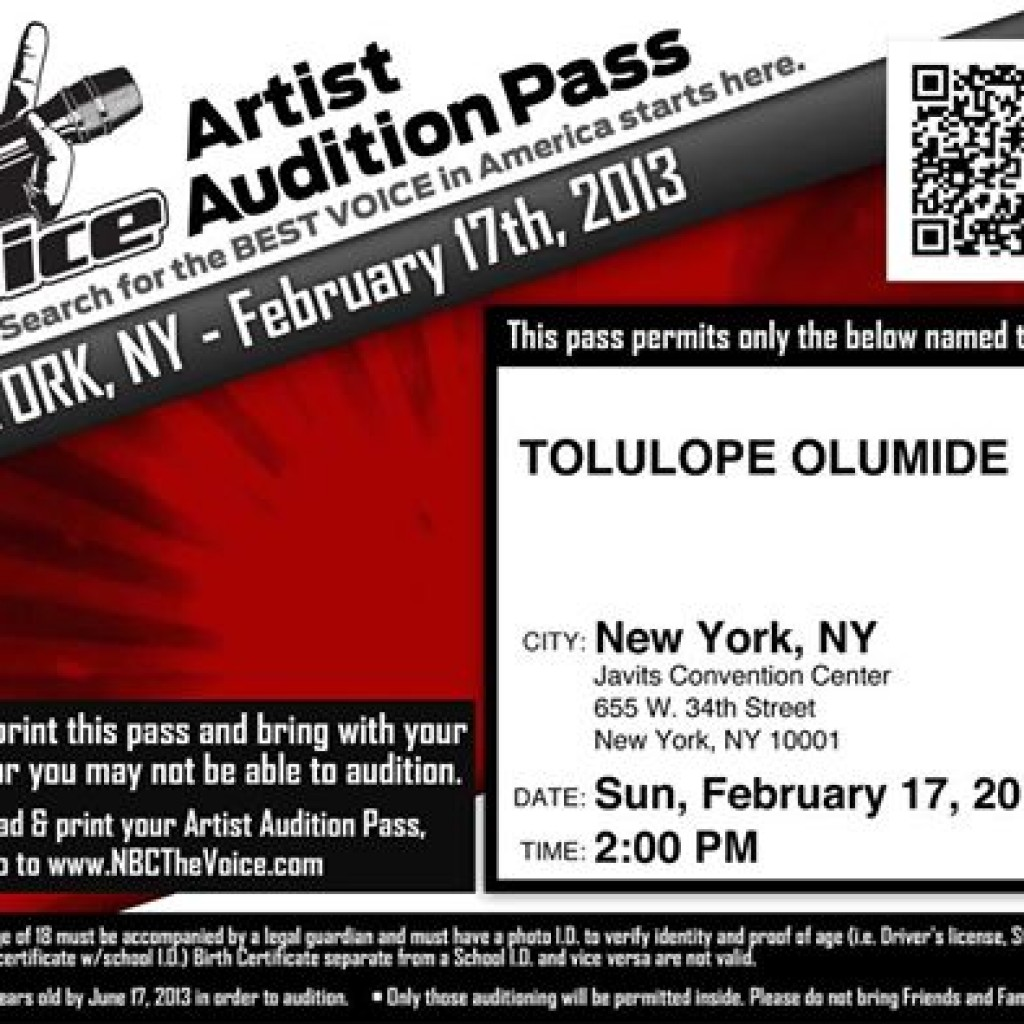 Audition for NBC TheVoice