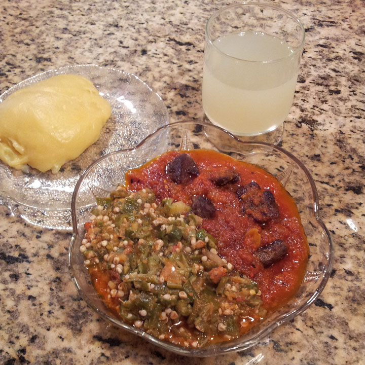 Having Plaintain Fufu Okro and Beef stew