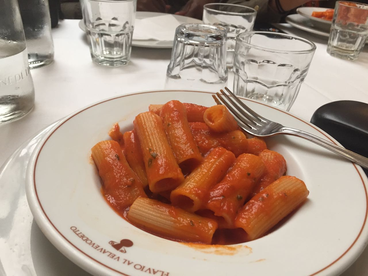 This is pasta at Flávio Al Velavevodetto, one of the most authentic Italian restaurants you will ever see in Rome. It is in a working class area and stays pack. A bit of advice, do not order the spaghetti with meatballs, the cook will leave the kitchen and eject you. Spaghetti and Meatballs is not done in Rome