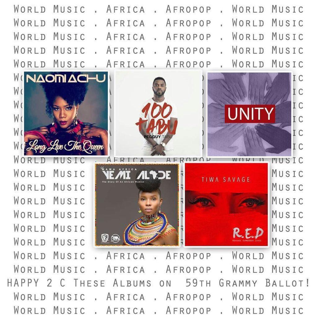 Afropop artiststs in 59th Grammys World Ballot